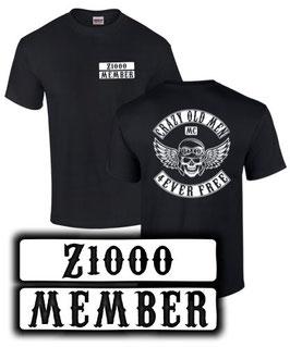 T-Shirt Z1000 CRAZY OLD MEN MC Motorrad Club Tuning Teile Zubehör z 1000 , für Kawasaki Biker
