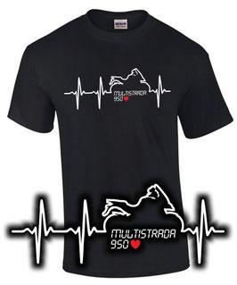 T-Shirt MULTISTRADA 950 HERZSCHLAG Tuning Teile Zubehör , für Ducati Biker