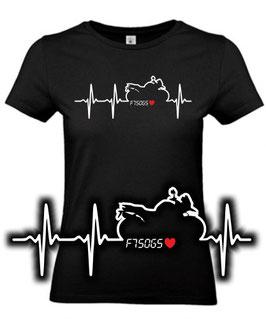 1 x T-Shirt Damen schwarz Gr. M, Sonderanfertigung auf Kundenwunsch, Herzschlag F750GS