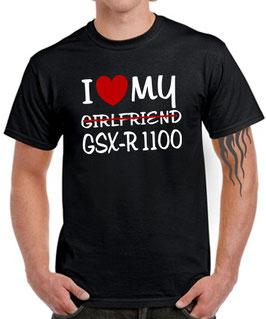 T-Shirt I LOVE MY GIRLFRIEND GSX-R 1100 Tuning Teile Zubehör gsxr1100 gsxr 1100 , für Suzuki Biker
