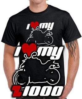 T-Shirt I LOVE MY Z1000 Tuning Teile Zubehör z 1000 R SX , für Kawasaki Biker
