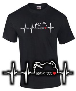 GSX-R 1000 Tuning Teile Zubehör HERZSCHLAG T-Shirt gsxr1000 gsxr , für Suzuki Biker