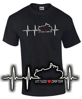 T-Shirt HERZSCHLAG VN 1500 DRIFTER Tuning Teile Zubehör vn1500 , für Kawasaki Biker