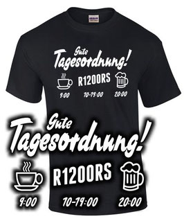 T-Shirt R1200RS TAGESORDNUNG Tuning Motorrad Teile Biker r 1200 rs Motorrad Motiv, für BMW Biker