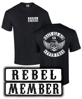 T-Shirt REBEL MEMBER CRAZY OLD MEN MC cmx500 cmx 500 Tuning Zubehör Motorrad , für Honda Biker