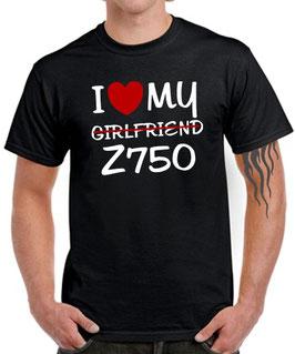 T-Shirt I LOVE MY GIRLFRIEND Z750 Tuning Teile Zubehör z 750 , für Kawasaki Biker