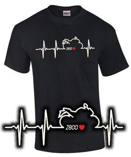 T-Shirt HERZSCHLAG Z800 Tuning Teile Zubehör z 800 e , für Kawasaki Biker