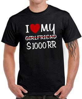 T-Shirt I LOVE MY girlfriend S1000RR Tuning Zubehör Teile Motorrad s 1000 rr , für BMW Biker