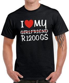 T-Shirt I LOVE MY girlfriend R1200GS Tuning Zubehör Teile Motorrad Biker r 1200 gs , für BMW Biker