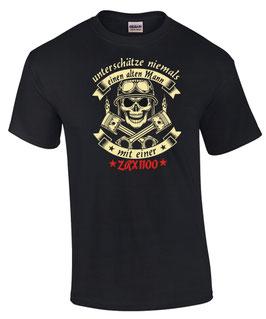 T-Shirt UNTERSCHÄTZE NIEMALS EINEN ALTEN MANN MIT EINER ZRX 1100 Tuning Teile Zubehör zrx1100 , für Kawasaki Biker