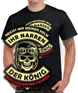 T-Shirt DER KÖNIG WILL GOLDWING FAHREN gold wing Motorrad Helm Spruch lustig , für Honda Biker
