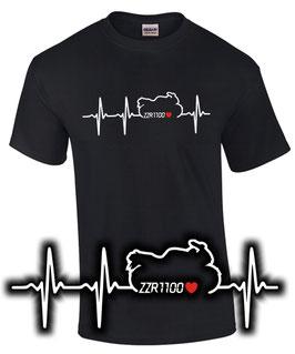T-Shirt HERZSCHLAG PULS ZZR 1100 Tuning Teile Zubehör Biker Motiv Motorrad Liebe zzr1100 , für Kawasaki Biker