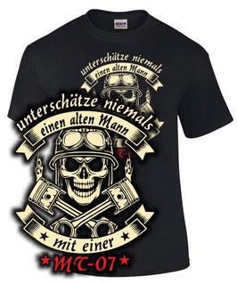T-Shirt UNTERSCHÄTZE NIEMALS EINEN ALTEN MANN MIT EINER MT-07 Tuning Teile Zubehör mt 07 mt07 , für Yamaha Biker
