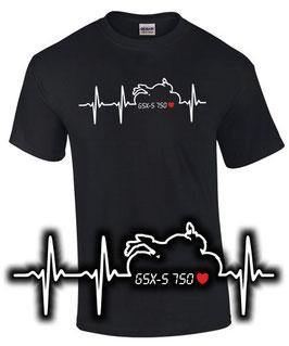 GSX-S 750 Tuning Teile Zubehör HERZSCHLAG T-Shirt gsxs750 gsxs 750 , für Suzuki Biker