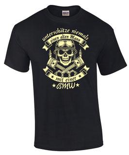 """2 x T-Shirt schwarz  (1 x Größe XL, 1 x Größe XXL) Sonderanfertigung, Motiv """"Alter Mann mit einer BMW"""""""