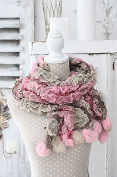 Kuschel  Schal Wolle Seide rosa beige braun