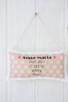 Personalisiertes Schild zur Geburt