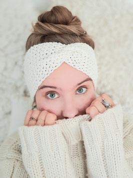 Stirnband Merinowolle Damen Strick Kopfband  Headband  Ohrenband creme wollweiß