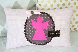 Taufgeschenk  Schutzengel Kissen Vichykaro rosa grau