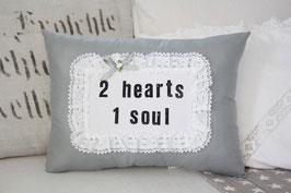 Hochzeitskissen 2 hearts 1 soul