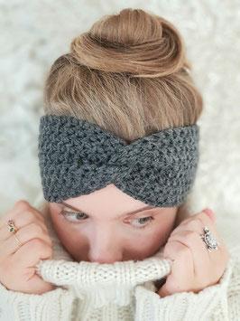 Stirnband Merinowolle Damen Strick Kopfband  Headband  Ohrenband grau