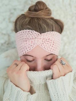 Stirnband Merinowolle Damen Strick Kopfband  Headband  Ohrenband rosa