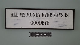 Tekst bord goodbye