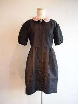 nd-800/01BJ (ビジュー付き)S/C grosgrain x lace coat dress