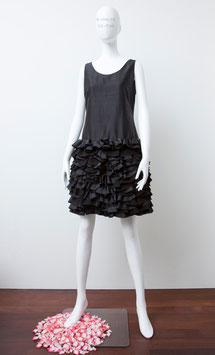ND-008 silk shantung N/S frilled dress