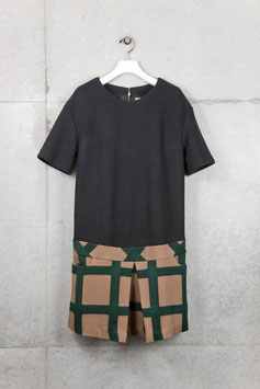 nd-042/02 wool ring x big check  s/s  box pleats  OP
