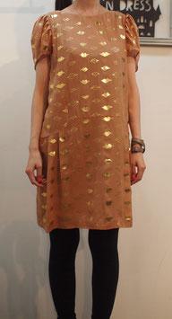 nd-085/14 lip foil print big puff dress