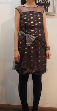 nd-088/15 lip foil print tulle dress