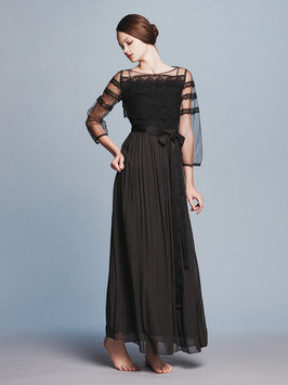 nd-095/10 race x tulle L/S black long dress