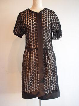 nd-706/31 co lace x  grosgrain  asymmetry coat dress