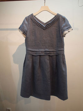 nd-079/03 linen denim frill V/N dress