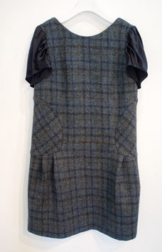nd-085/01 harris tweed x si satin puff  s/s dress