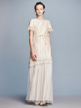 nd-096/11 silk shantung x tulle lace S/S dress