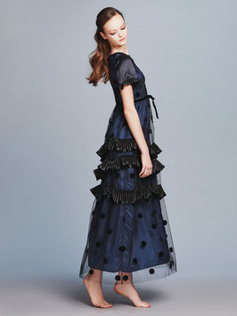 nd-096/12 tulle dots x si satin x pleat satin long dress