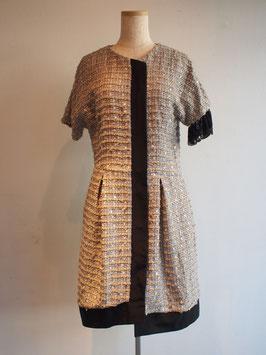 nd-706/30 c/v/p tweed x asymmetry coat dress