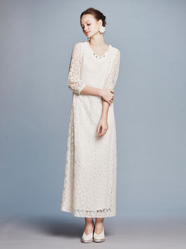 nd-013/09 leopard lace puff long dress