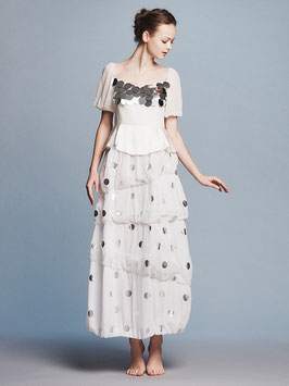 nd-860/01 dots yoryu x spangle puff s/s balloon long dress