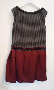 nd-098/22 hound'-tooth harris tweed / w satin dress