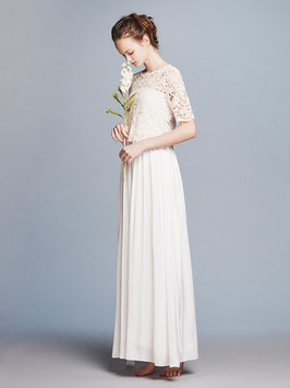nd-614/28 cotton flower lace x satin h/s  long dress