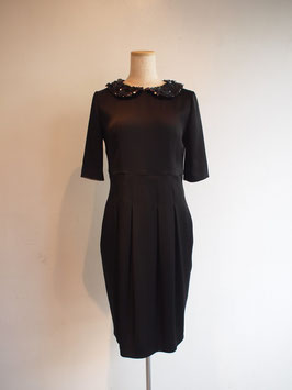 nd-047/07S crape satin x spangle round collar 5/s dress