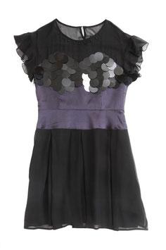 ND-011:)シルクシフォンスパンプリーツドレス