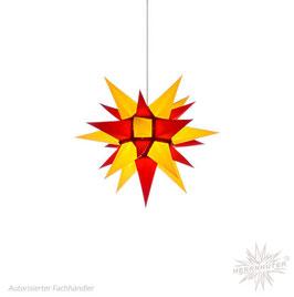 Herrnhuter Advents-und Weihnachts Stern I4, ca. 40cm, Papier, Gelb / Rot, nur für Innen geeignet