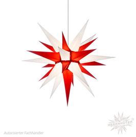Herrnhuter Advents-und Weihnachts Stern I6, ca. 60cm, Papier, Weiß / Rot, nur für Innen geeignet