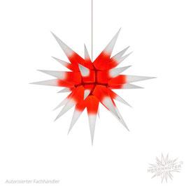 Herrnhuter Advents-und Weihnachts Stern I6, ca. 60cm, Papier, Weiß mit rotem Kern, nur für Innen geeignet