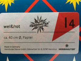 Herrnhuter Advents-und Weihnachts Stern I4, ca. 40cm, Papier, Weiß / Rot, nur für Innen geeignet