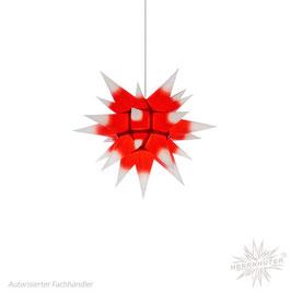 Herrnhuter Advents-und Weihnachts Stern I4, ca. 40cm, Papier, Weiß mit rotem Kern, nur für Innen geeignet